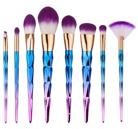 glowii 7pcs unicorn diamond purple hair makeup brush set